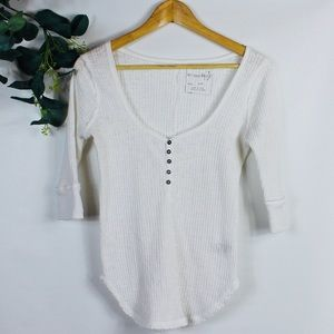 Free People V-Neck 3/4 Sleeve Top
